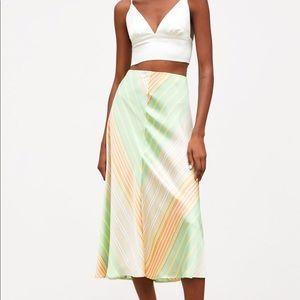 Zara striped satin skirt